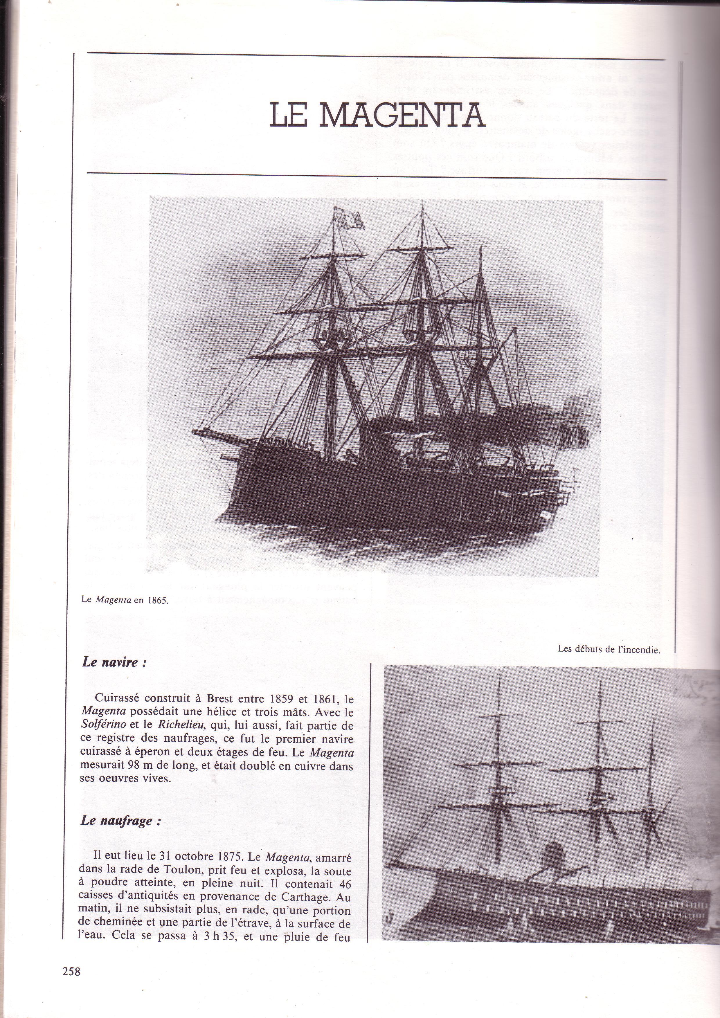 Gravure 1876 Toulon Les dernières épaves du Magenta